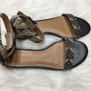 J. Crew Factory Shoes - J Crew Factory Raffia Ankle Strap Sandals Sz 6